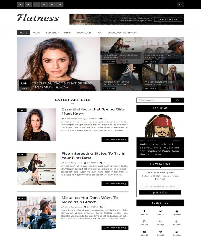 flatness blogger template