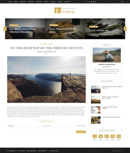 honey blogger template 2016