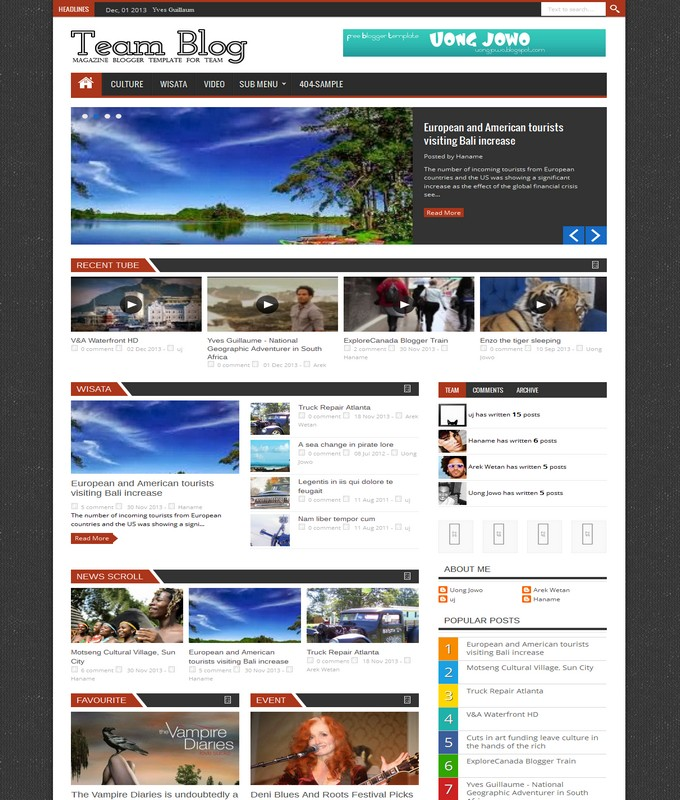 team blog blogger template