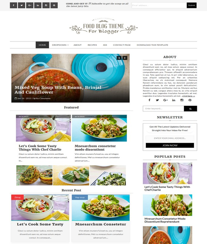 food blog blogger template