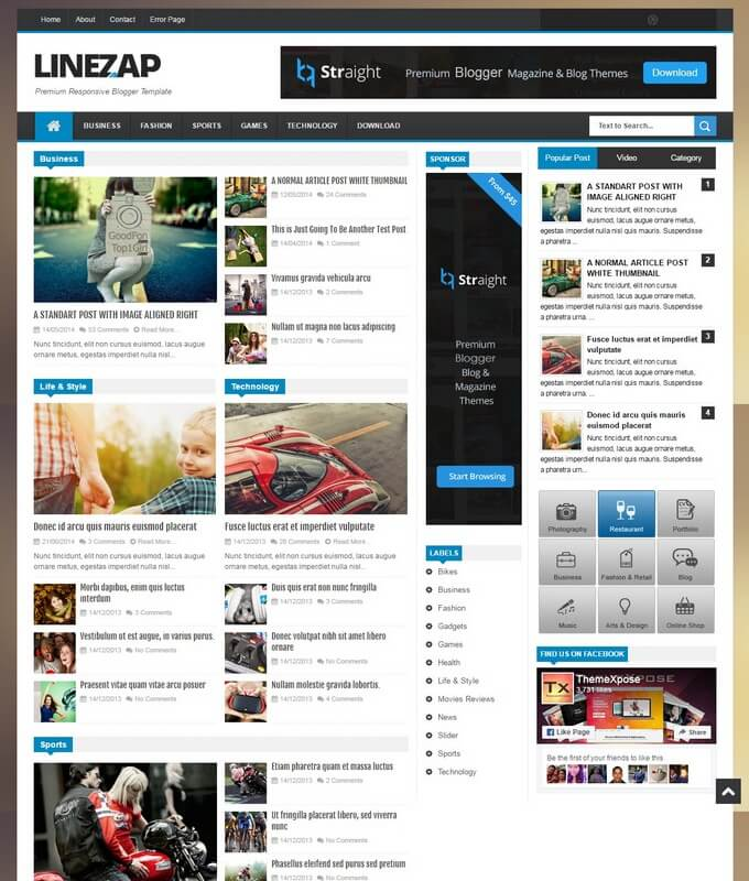 Linezap Blogger Template