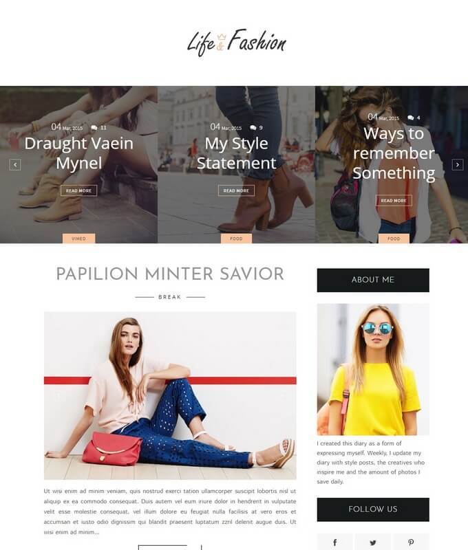 Life-Ffashion Blogger Template