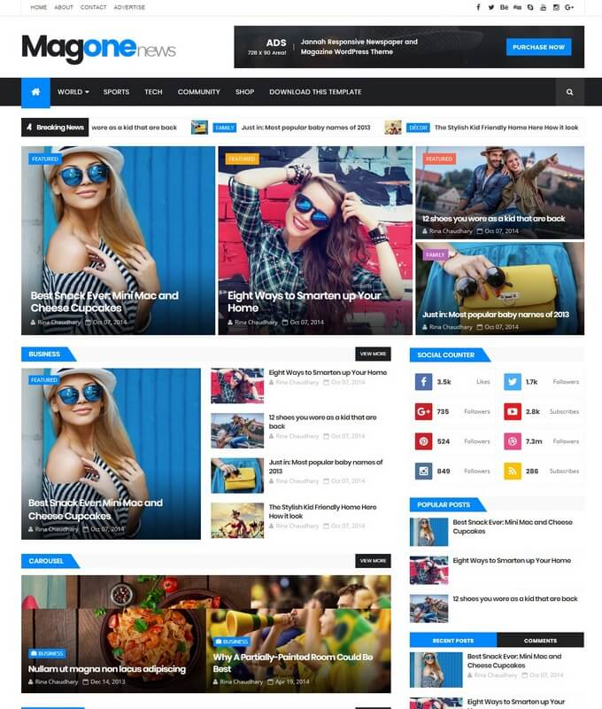 MagOne Blogger Template Free Download