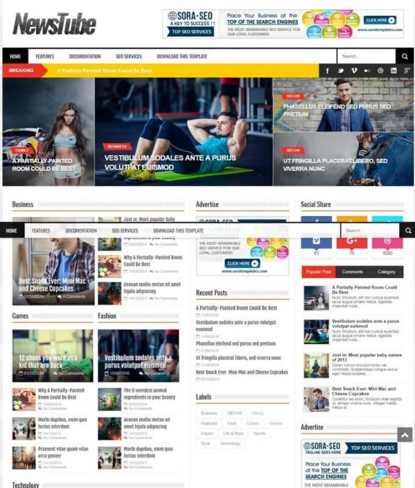 NewsTube Blogger Template