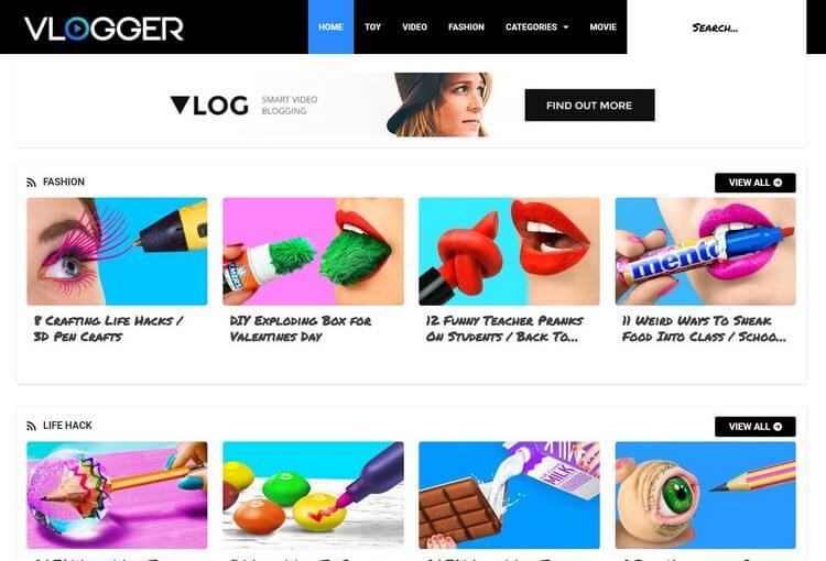 Vlogger Blogger Template